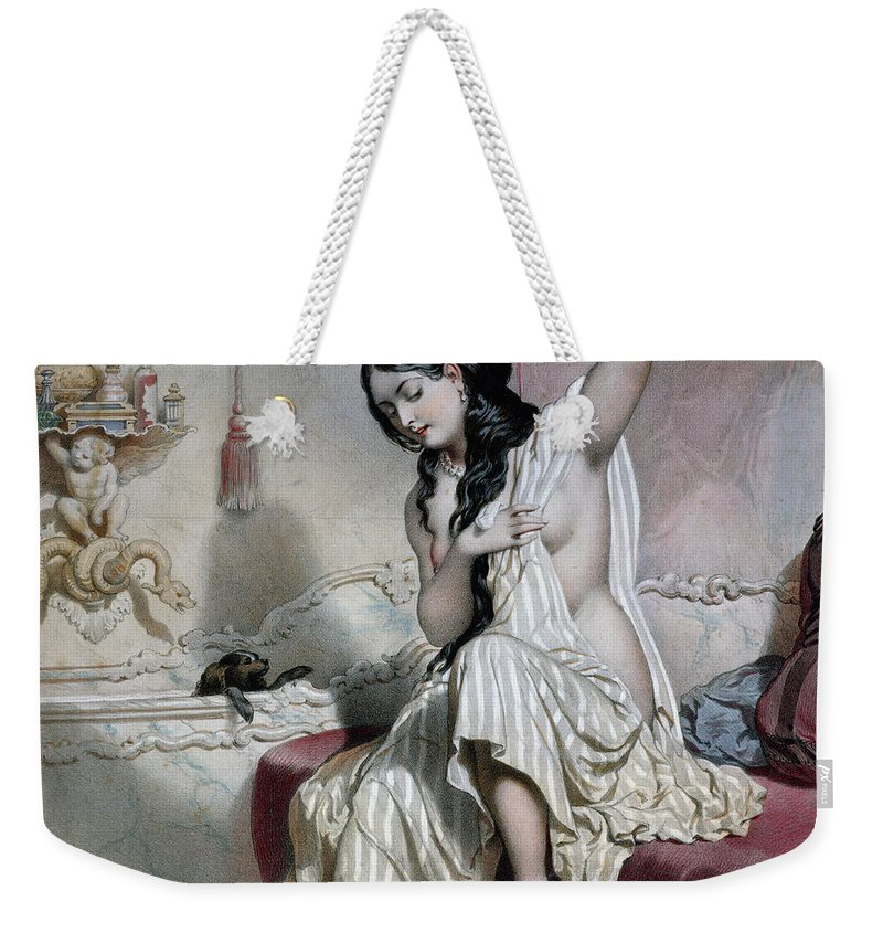 Nude Weekender Tote Bag featuring the painting Oriental Woman At Her Toilet by French School
