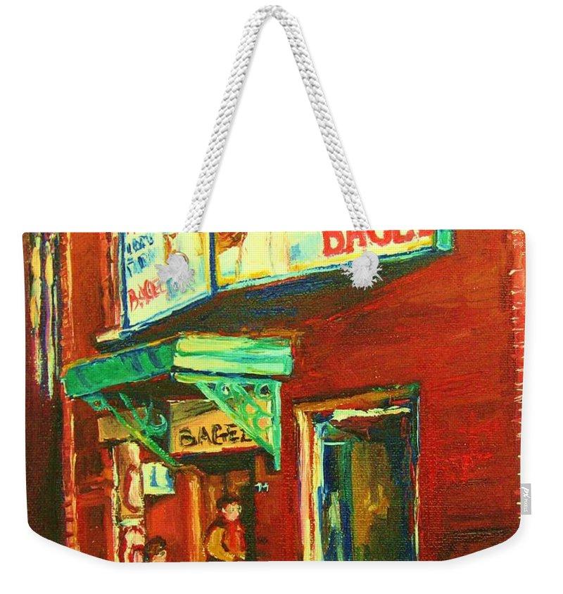 Original Fairmount Bagel Weekender Tote Bag featuring the painting Original Fairmount Bagel by Carole Spandau
