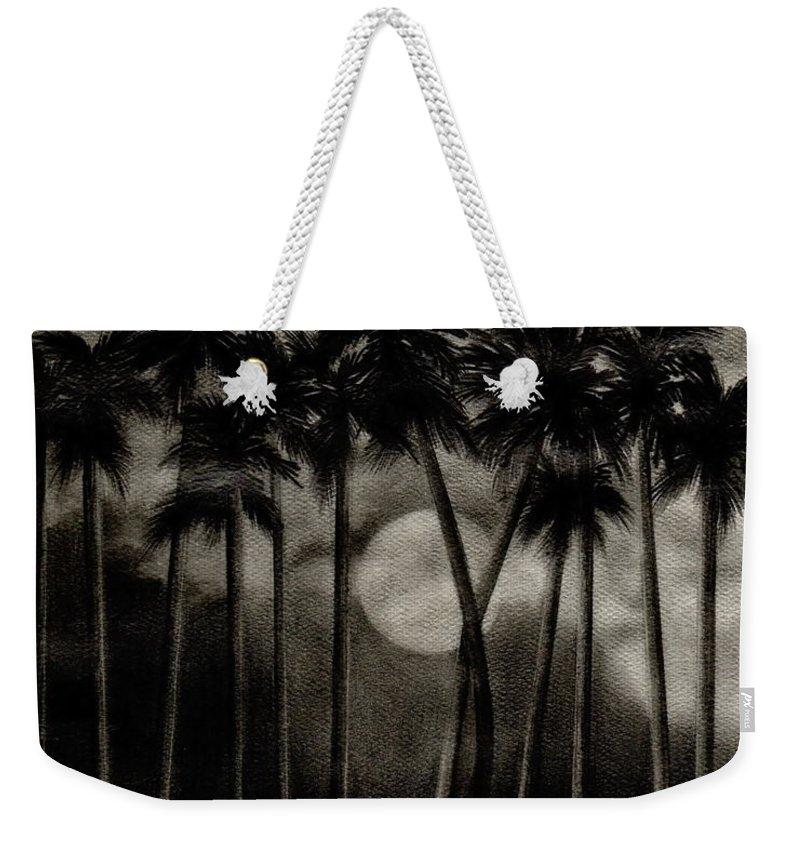 Original Moonlit Palm Trees Weekender Tote Bag featuring the drawing Original Moonlit Palm Trees by Larry Lehman