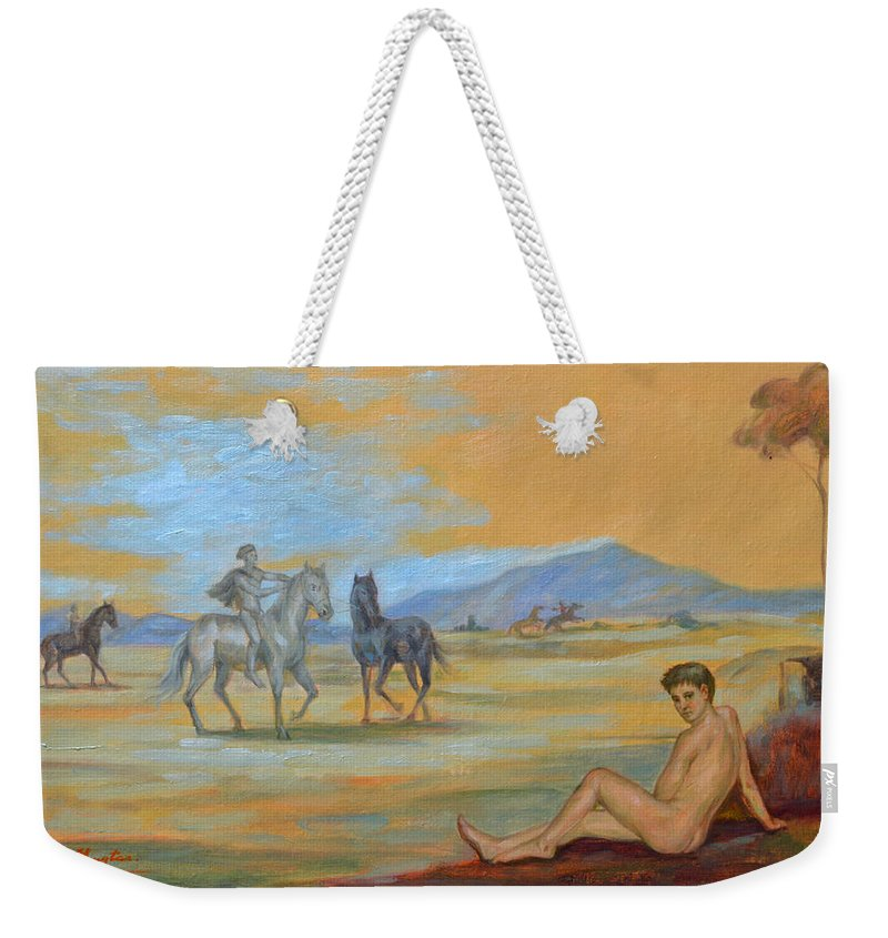 Original. Oil Painting Art Weekender Tote Bag featuring the painting Original Oil Painting Art Male Nude With Horses On Canvas #16-2-5 by Hongtao   Huang