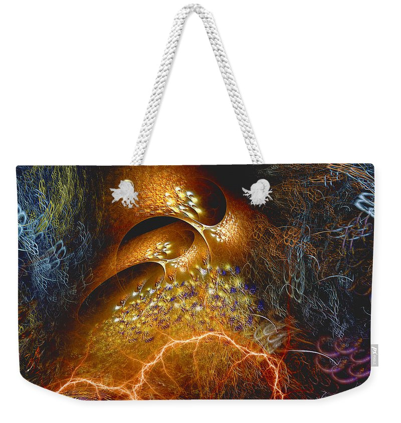 Abstract Weekender Tote Bag featuring the digital art Origination by Casey Kotas