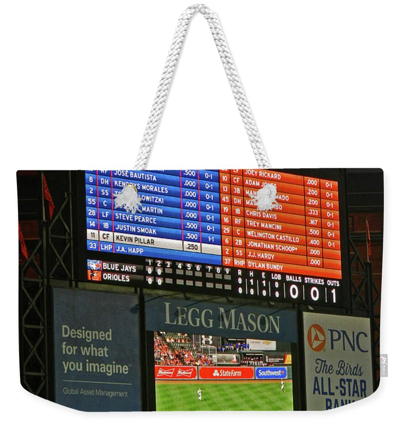 Orioles Game At Camden Yards Weekender Tote Bag featuring the photograph Orioles Game At Camden Yards by Emmy Vickers