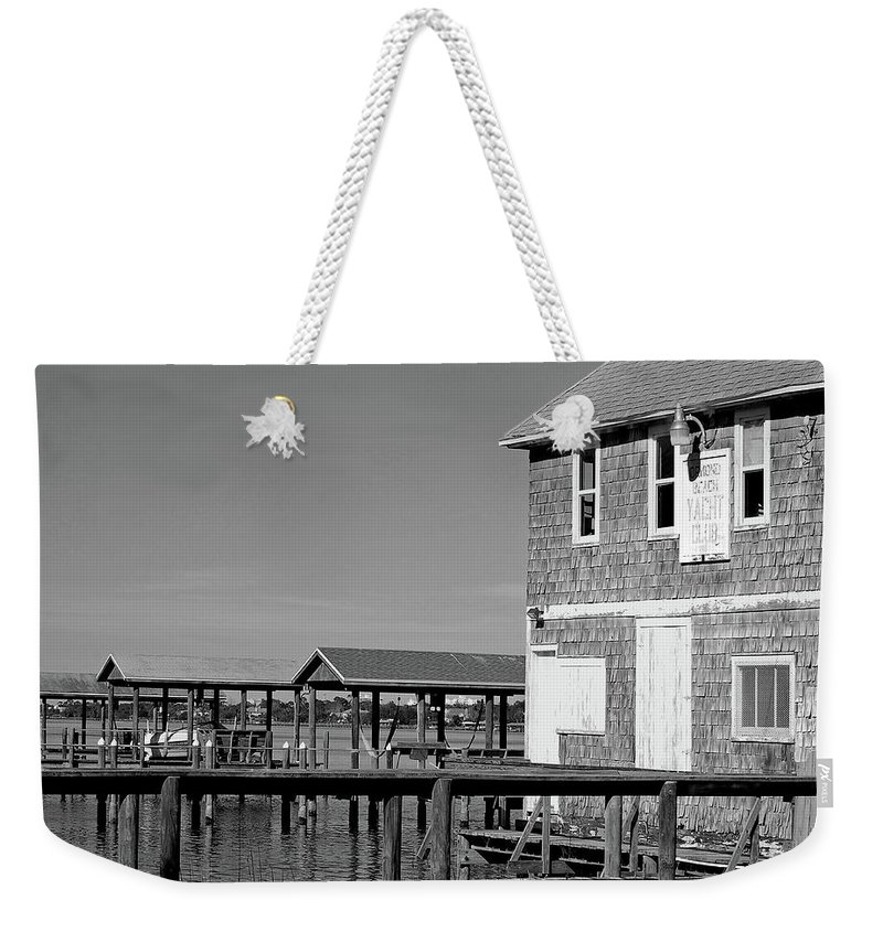 Historic Weekender Tote Bag featuring the photograph Ormond Yacht Club Black And White by DigiArt Diaries by Vicky B Fuller