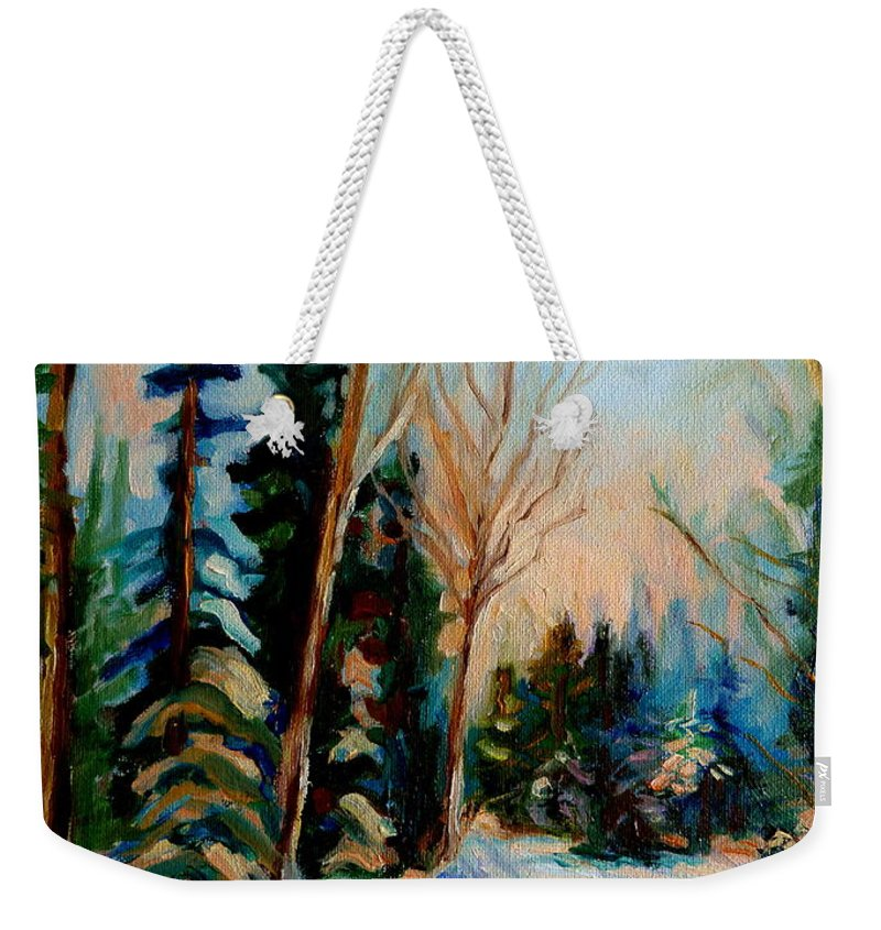Ormstown Quebec Winter Road Weekender Tote Bag featuring the painting Ormstown Quebec Winter Road by Carole Spandau