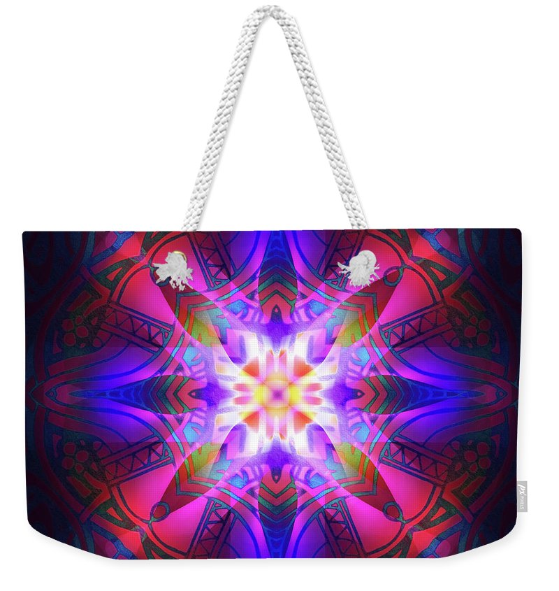 Light Weekender Tote Bag featuring the digital art Ornament Of Light by Amira EL-Fohail