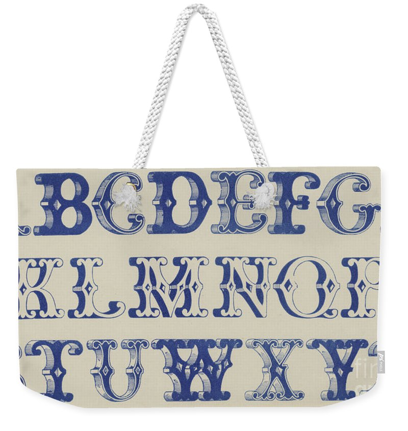 Capital Weekender Tote Bag featuring the drawing Ornamental Font by English School