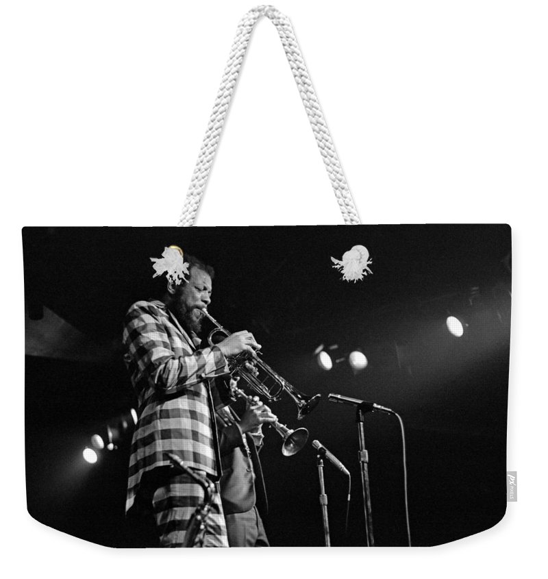 Ornette Colman Weekender Tote Bag featuring the photograph Ornette Coleman On Trumpet by Lee Santa