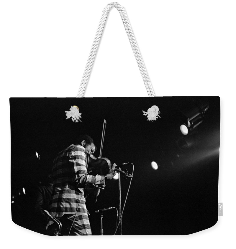 Ornette Coleman Weekender Tote Bag featuring the photograph Ornette Coleman On Violin by Lee Santa