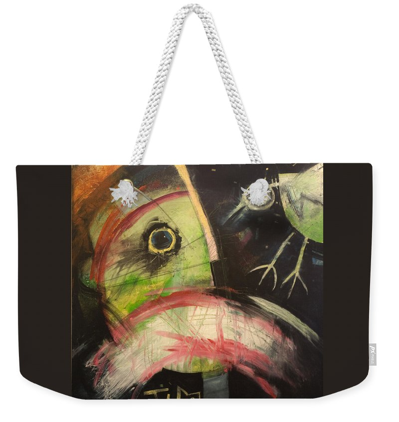 Bird Weekender Tote Bag featuring the painting Ornithophobia by Tim Nyberg