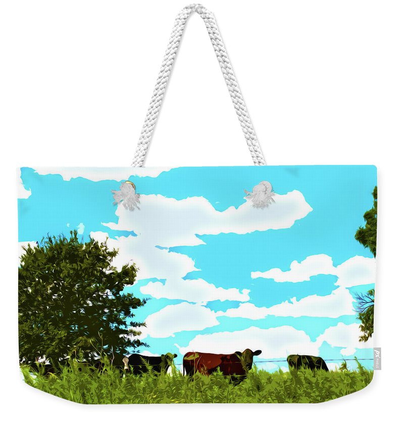 Osage County Cows Weekender Tote Bag featuring the digital art Osage County Cows by Susan Vineyard