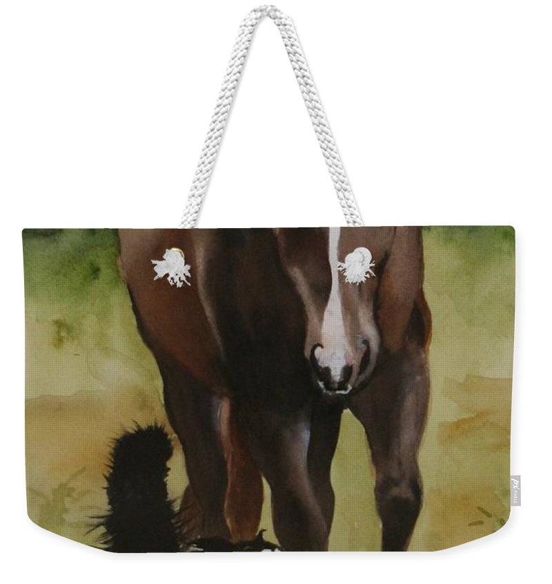 Horse Weekender Tote Bag featuring the painting Oscar and Friend by Jean Blackmer