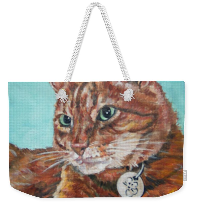 Cat Weekender Tote Bag featuring the painting Oscar by Bryan Bustard