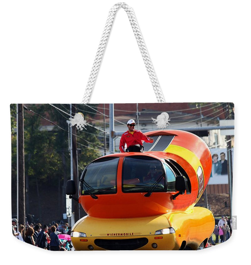 Wienermobile Weekender Tote Bag featuring the photograph Oscar Mayer Wienermobile by Catherine Sherman