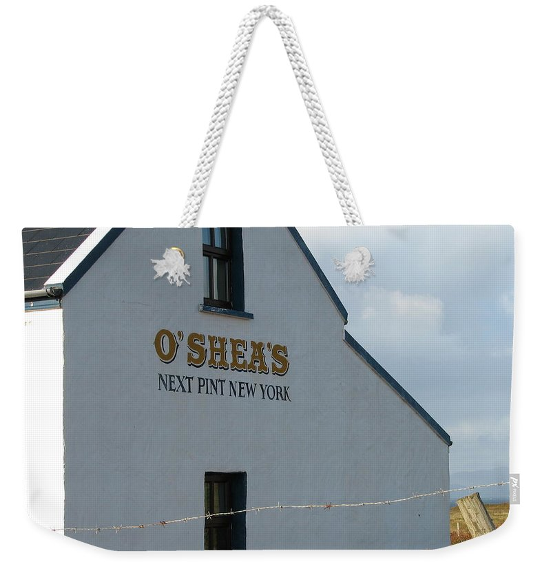 Pub Weekender Tote Bag featuring the photograph O'shea's by Kelly Mezzapelle
