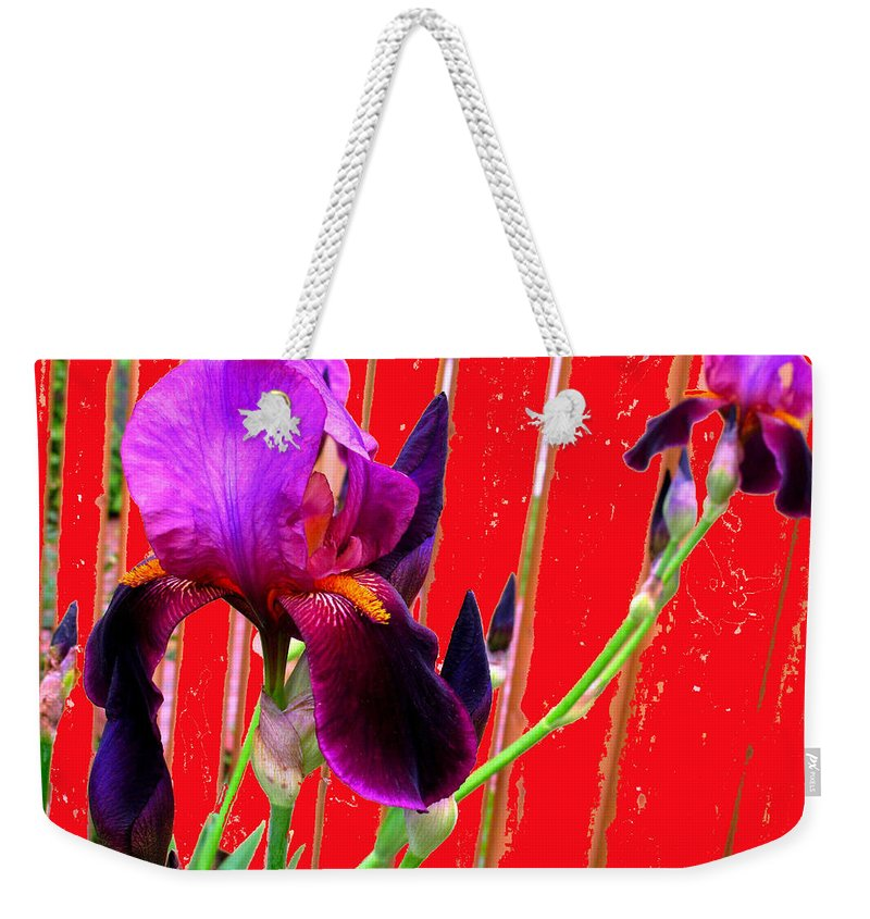 Iris Weekender Tote Bag featuring the photograph Other Side Of The Fence by Ian MacDonald
