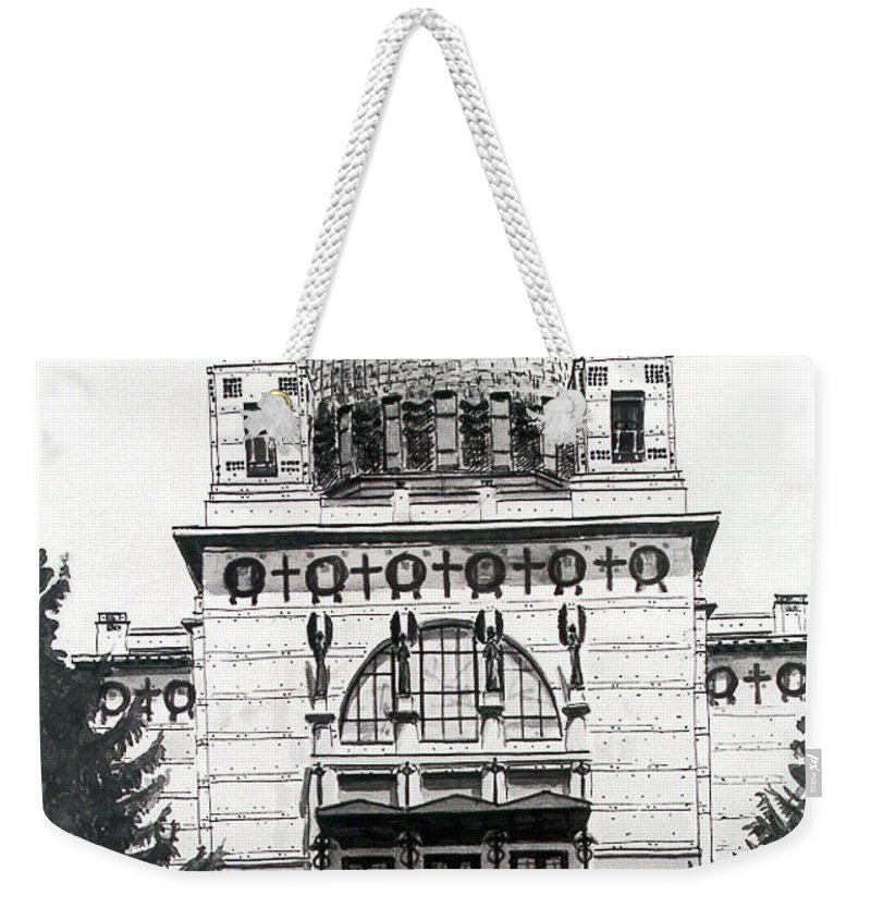 Ottowagner Weekender Tote Bag featuring the painting Ottowagners Church by Johannes Margreiter