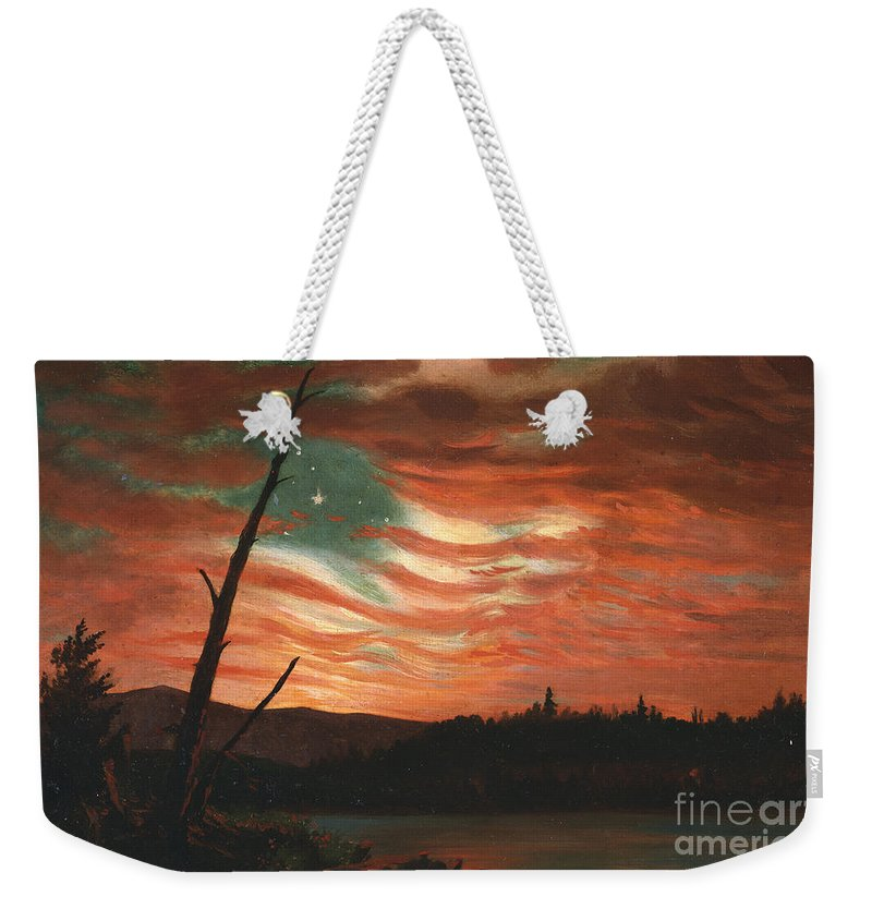 Our Weekender Tote Bag featuring the painting Our Banner In The Sky by Frederic Edwin Church
