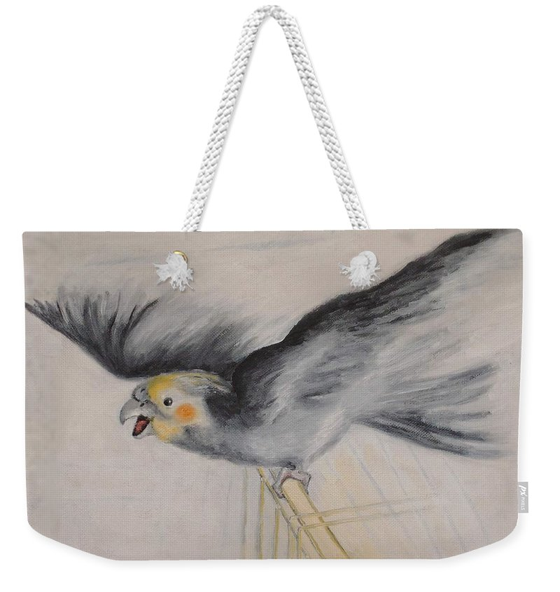 Cockatiel.pet Weekender Tote Bag featuring the painting our cockatiel Coco by Helmut Rottler
