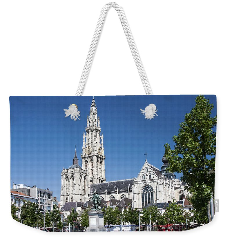 Our Lady Cathedral Weekender Tote Bag featuring the photograph Our Lady Cathedral Antwerp by Sally Weigand