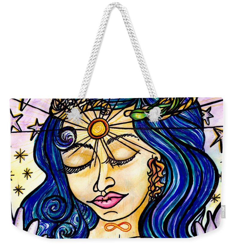 Spiritual Weekender Tote Bag featuring the painting Our Lady Of Self Blessing by Camille Roman