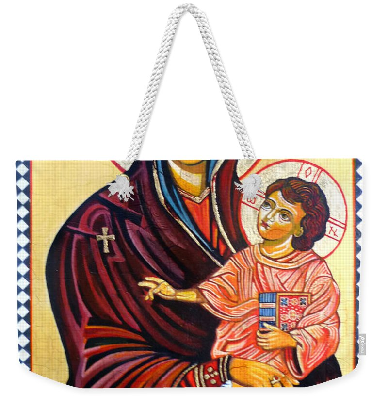 Our Lady Of The Snows Icon Weekender Tote Bag featuring the painting Our Lady Of The Snows by Ryszard Sleczka