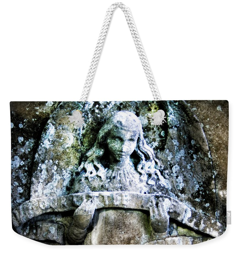 Angel Weekender Tote Bag featuring the photograph Our Little Angel Stone Carving Horizontal by John Harmon