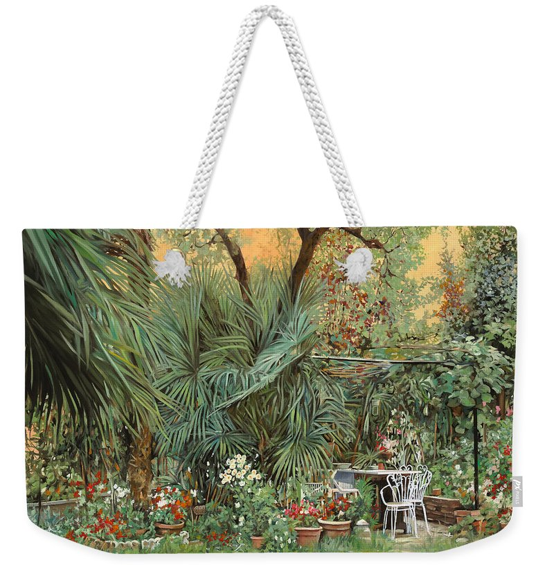 Garden Weekender Tote Bag featuring the painting Our Little Garden by Guido Borelli
