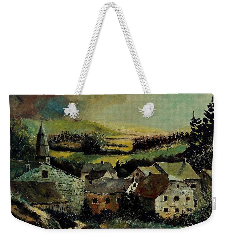 Village Weekender Tote Bag featuring the painting Our Opont Belgium by Pol Ledent