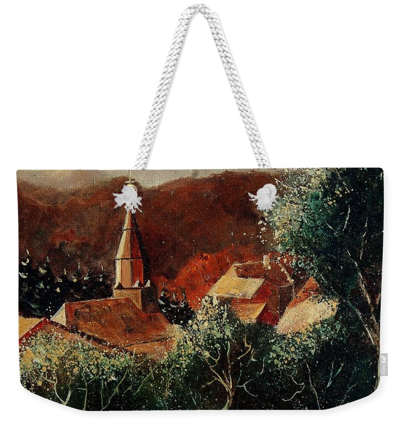Tree Weekender Tote Bag featuring the painting Our Village Opont by Pol Ledent