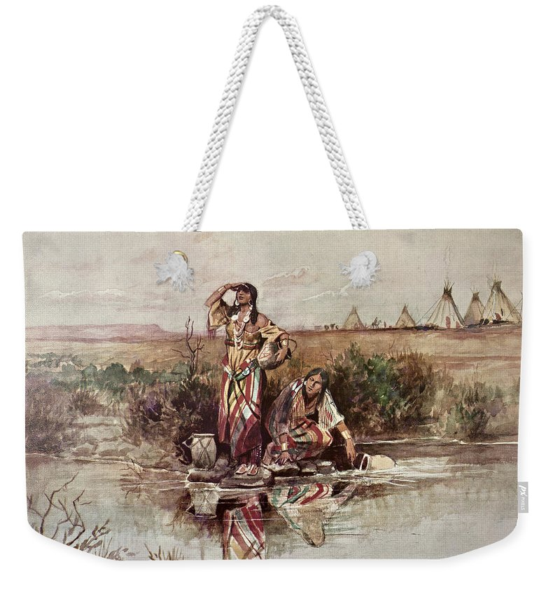 Native American Indian Weekender Tote Bag featuring the painting Our Warriors Return by Charles Marion Russell