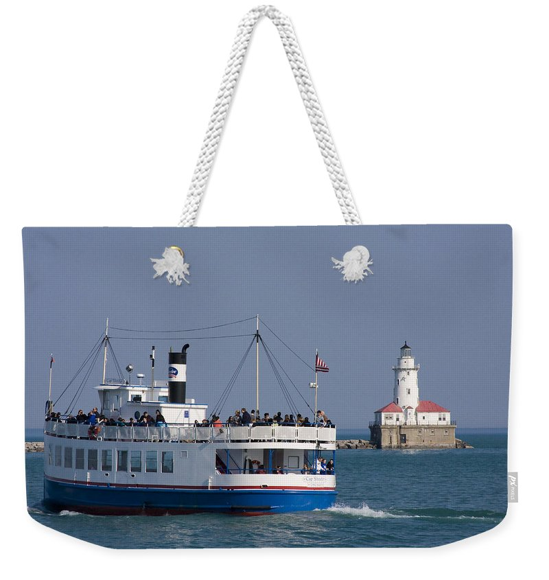 Boat Tour Tourism Tourist Attraction Chicago Windy City Ride Lighthouse Lake Michigan Water Sky Wake Weekender Tote Bag featuring the photograph Out For A Ride by Andrei Shliakhau
