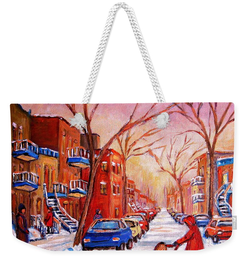 Montreal Weekender Tote Bag featuring the painting Out For A Walk With Mom by Carole Spandau