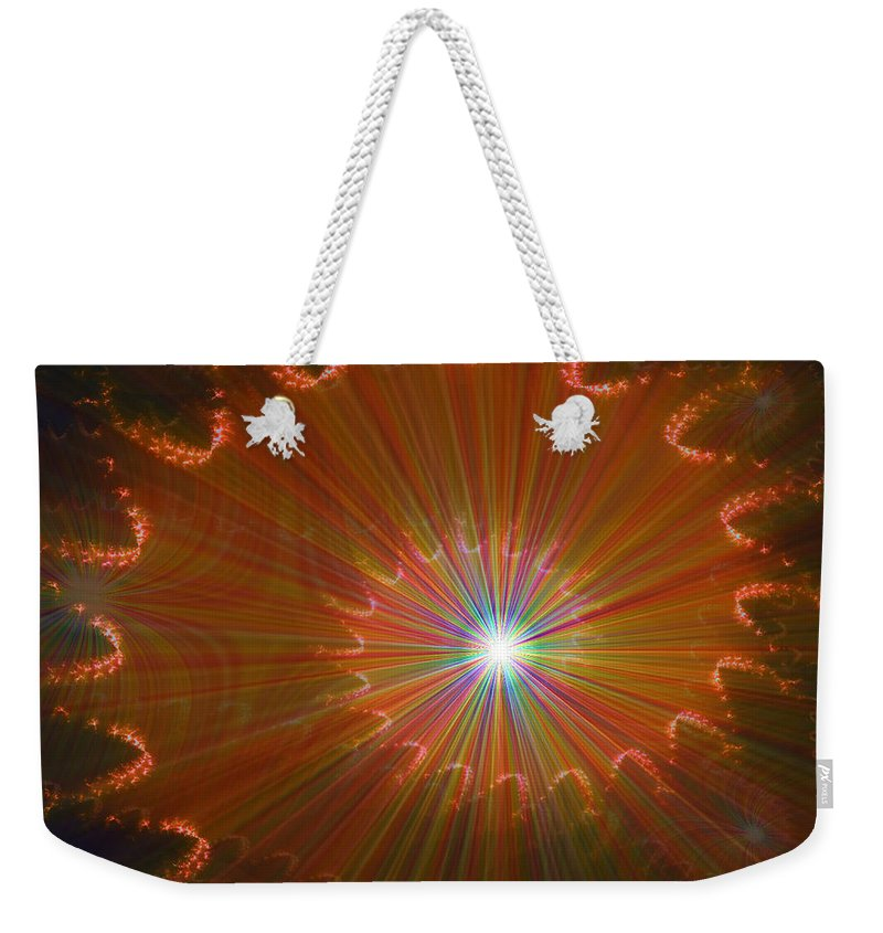Super Nova Stars Another World Universe Abstract Spectrum Colorful Weekender Tote Bag featuring the digital art Out Of Control by Andrea Lawrence