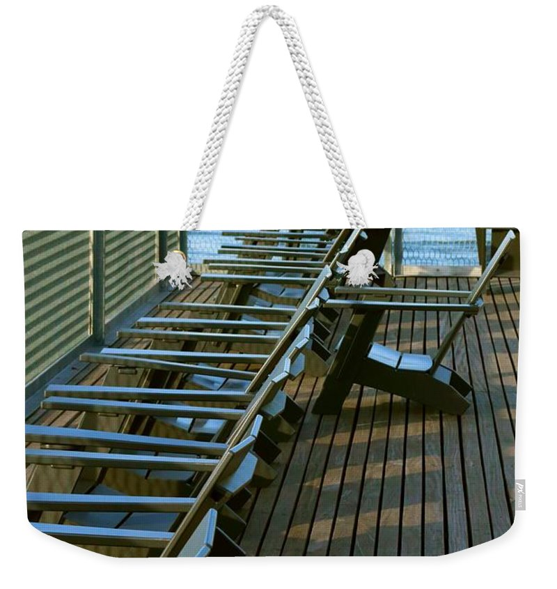 Chair Weekender Tote Bag featuring the photograph Out Of Line by Robert McCulloch