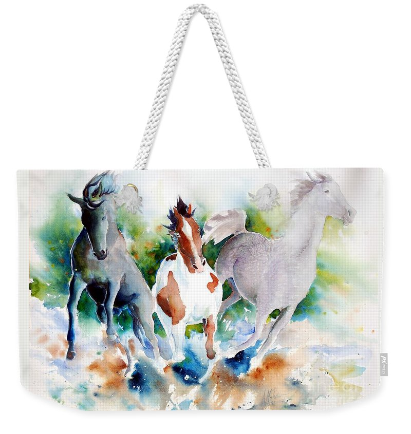 Horses Weekender Tote Bag featuring the painting Out Of Nowhere by Christie Martin