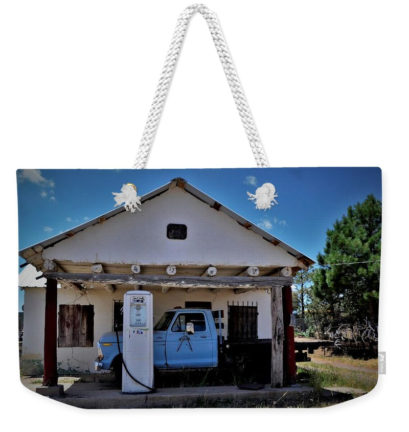 New Mexico Weekender Tote Bag featuring the photograph Out Of Service New Mexico Gas Station by Dwight Eddington