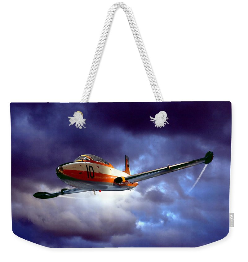 Plane Weekender Tote Bag featuring the photograph Out Of The Blue by Steven Agius