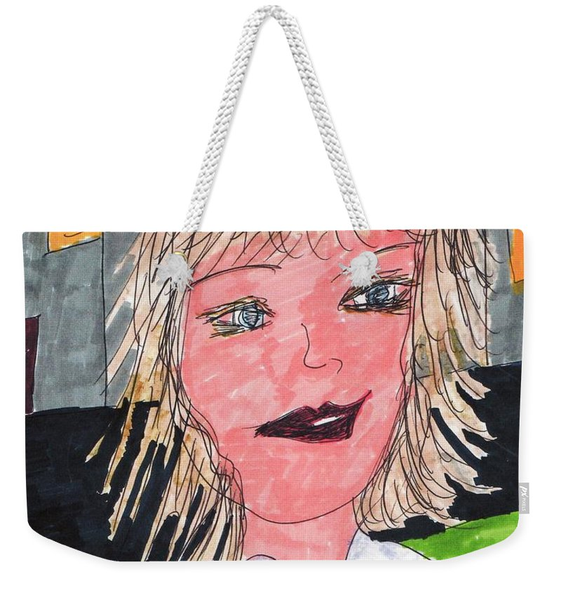 Blond Haired Girl Houses With Lights On In Background Weekender Tote Bag featuring the mixed media Out On The Town by Elinor Rakowski