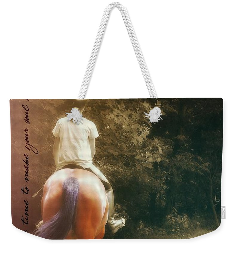 Horse Weekender Tote Bag featuring the photograph Out On The Trail Quote by JAMART Photography