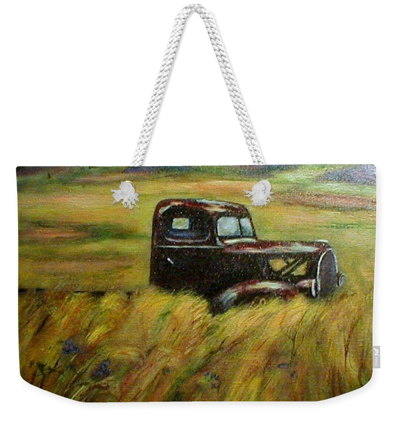 Vintage Truck Weekender Tote Bag featuring the painting Out To Pasture by Gail Kirtz