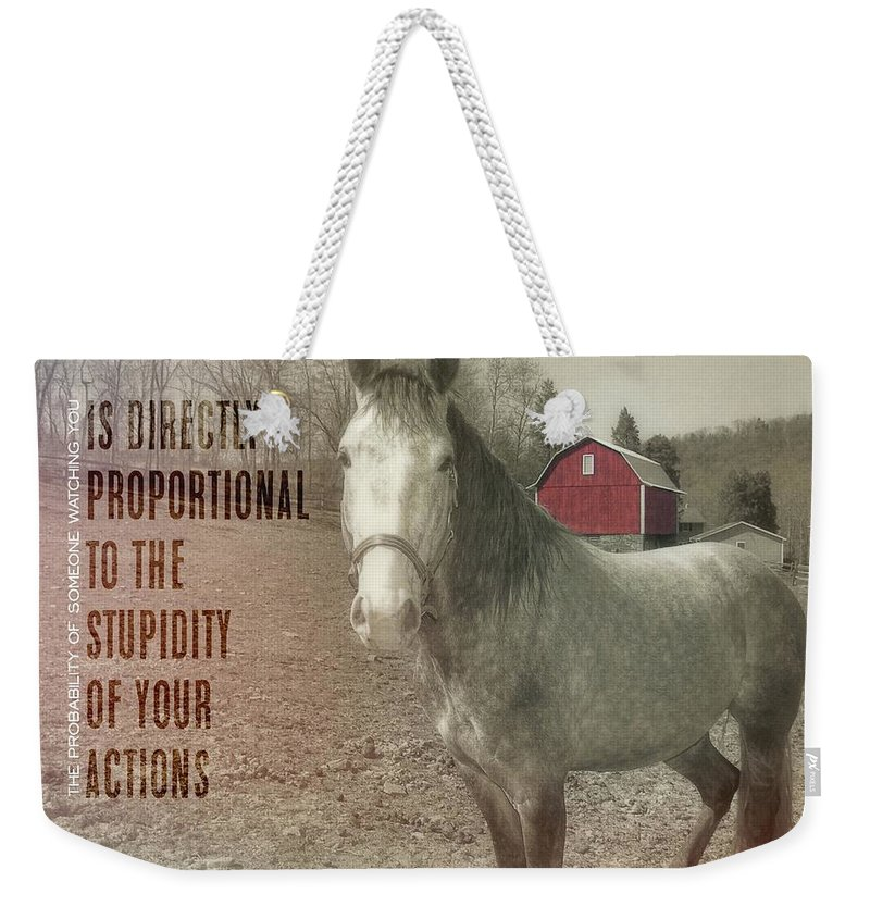 Horse Weekender Tote Bag featuring the photograph Out To Pasture Quote by JAMART Photography