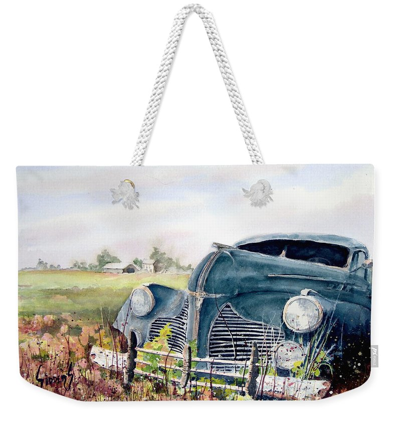 Classic Car Weekender Tote Bag featuring the painting Out To Pasture by Sam Sidders
