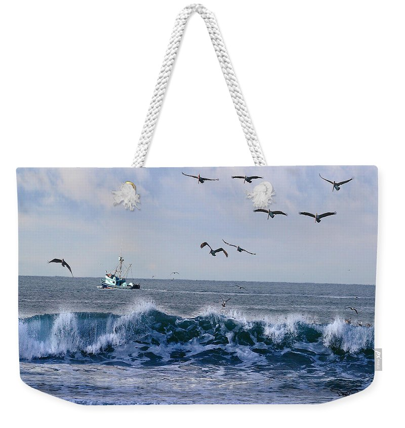 Landscape Weekender Tote Bag featuring the photograph Out To Sea by David Salter