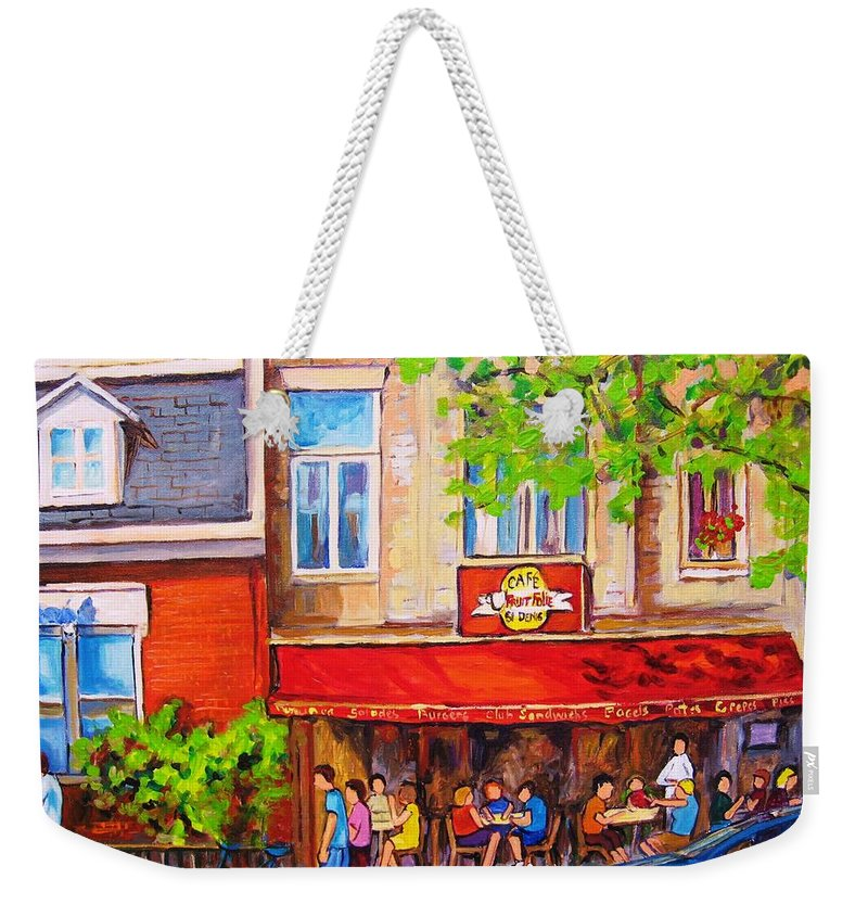 Montreal Weekender Tote Bag featuring the painting Outdoor Cafe by Carole Spandau