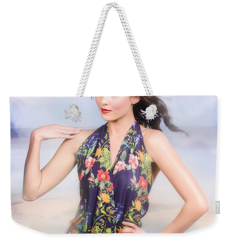 Fashion Weekender Tote Bag featuring the photograph Outdoor Fashion Portrait. Spring Twilight Beauty by Jorgo Photography - Wall Art Gallery