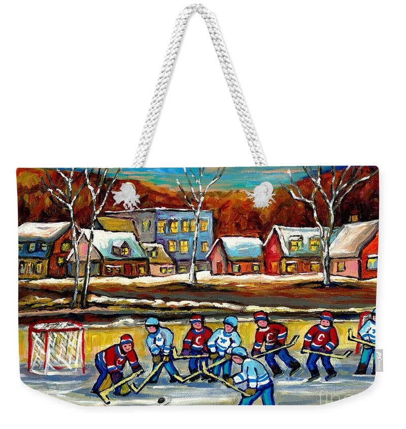 Country Hockey Rink Weekender Tote Bag featuring the painting Outdoor Hockey Rink by Carole Spandau