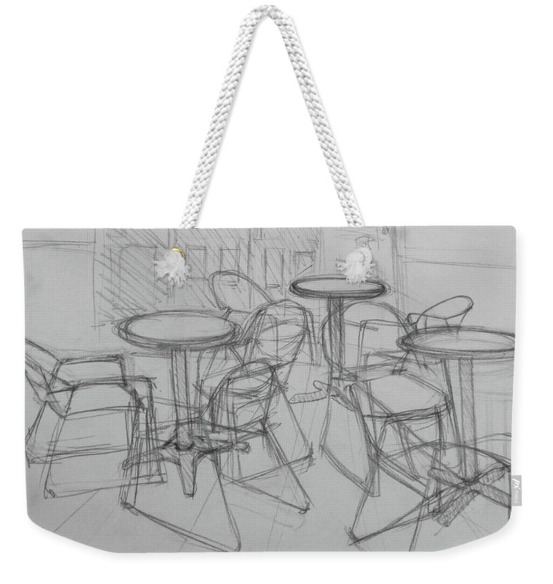 Restaurant Weekender Tote Bag featuring the drawing Outdoor Seating - Pirates Alley - French Quarter by Jani Freimann