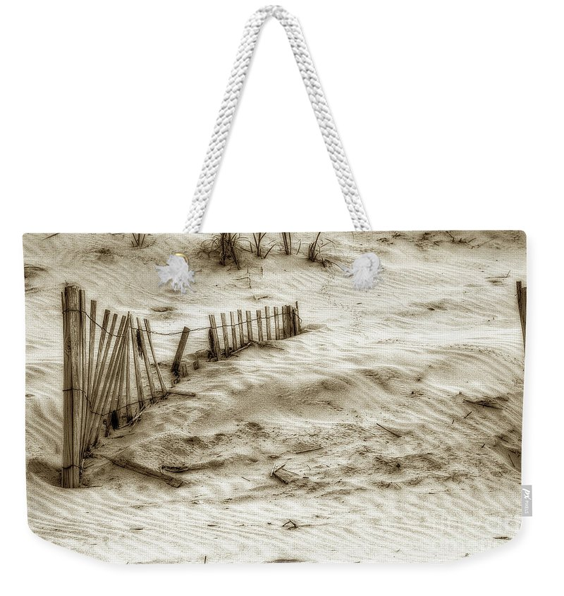 Sand Weekender Tote Bag featuring the photograph Outer Banks Beach Sand Fence by Randy Steele