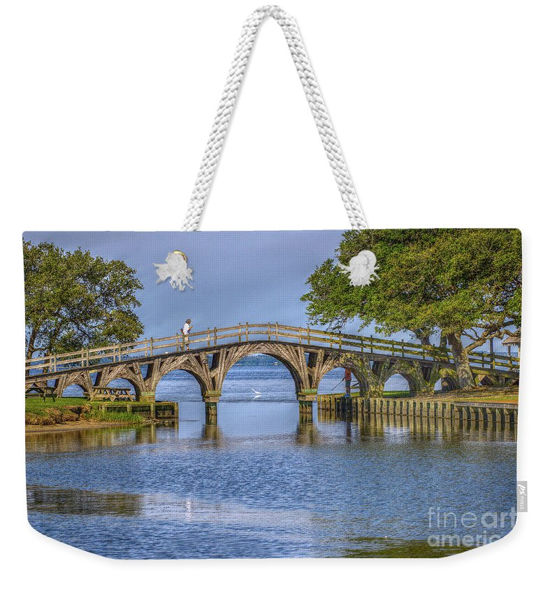 Summer Weekender Tote Bag featuring the photograph Outer Banks Whalehead Club Bridge by Randy Steele