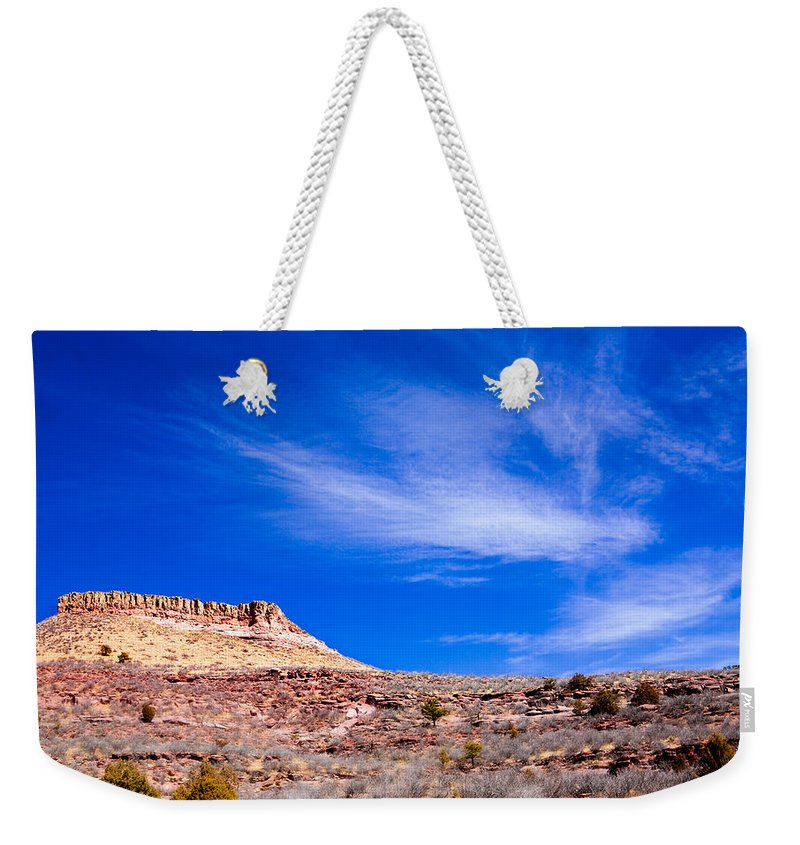 Red Weekender Tote Bag featuring the photograph Outside Lyons Colorado by Marilyn Hunt